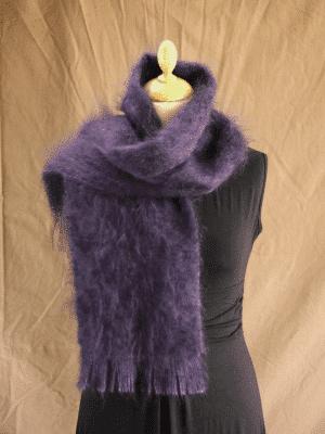 Echarpe laine mohair prune petit modele