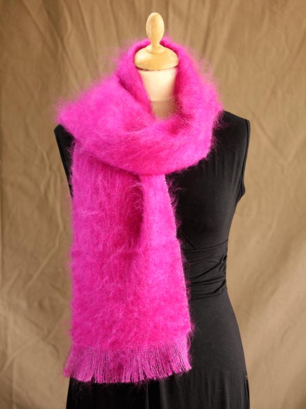 echarpe laine mohair rose thyrien petit modele