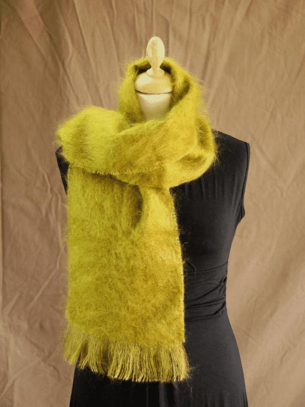 echarpe laine mohair vert olive petit modele