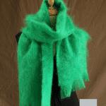 Grande écharpe laine mohair vert perroquet - Mohair Ferme d'Auré