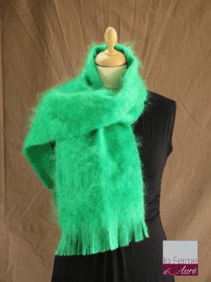Echarpe laine mohair vert perroquet petit modele