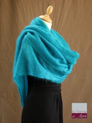 chale mohair & soie bleu lagon par la Ferme d'Auré - Chale tricot en laine mohair
