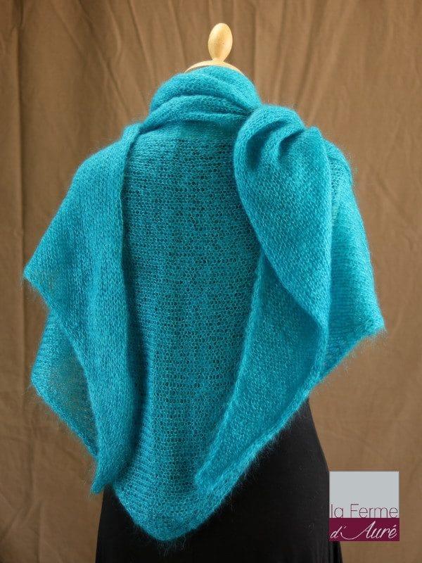 chale femme laine mohair & soie bleu lagon par la Ferme d'Auré - Chale tricot en laine mohair
