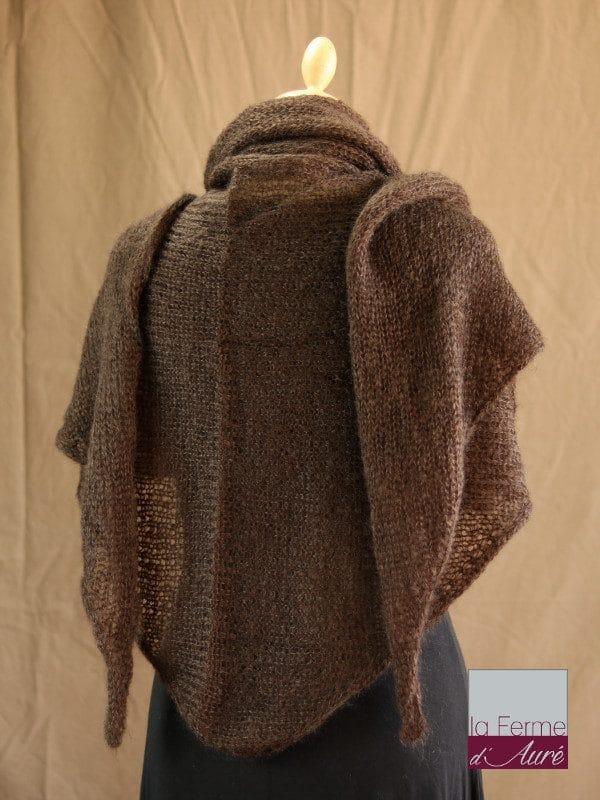 chale femme laine mohair & soie chocolat par la Ferme d'Auré - Chale tricot en laine mohair