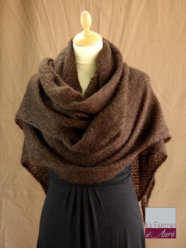 chale femme laine mohair chocolat par la Ferme d'Auré - Chale en laine mohair