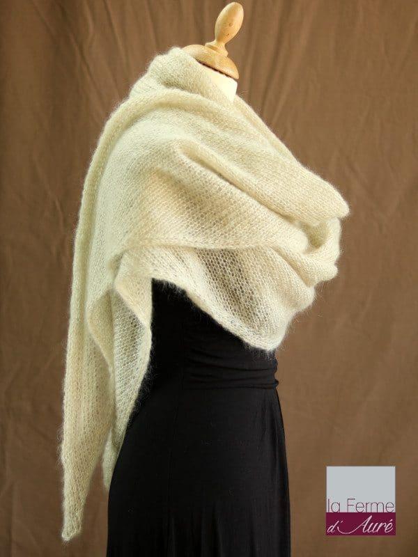 chale mohair & soie ficelle par la Ferme d'Auré - Chale tricot en laine mohair