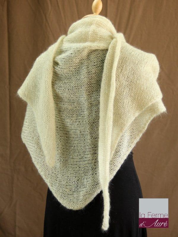 chale femme laine mohair & soie ficelle par la Ferme d'Auré - Chale tricot en laine mohair