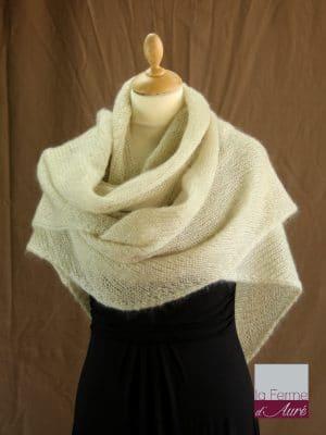 chale femme laine mohair ficelle par la Ferme d'Auré - Chale en laine mohair