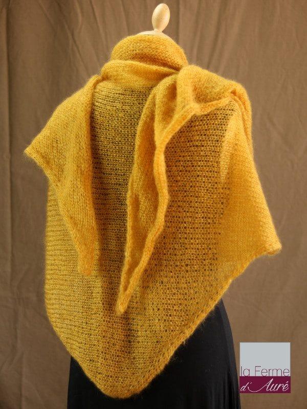 chale femme laine mohair & soie jaune par la Ferme d'Auré - Chale tricot en laine mohair