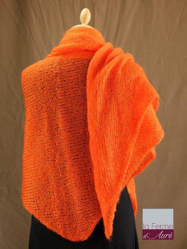 chale femme laine mohair & soie orange par la Ferme d'Auré - Chale en laine mohair