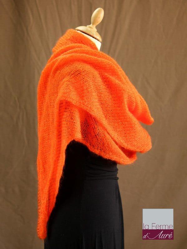chale mohair & soie orange par la Ferme d'Auré - Chale tricot en laine mohair