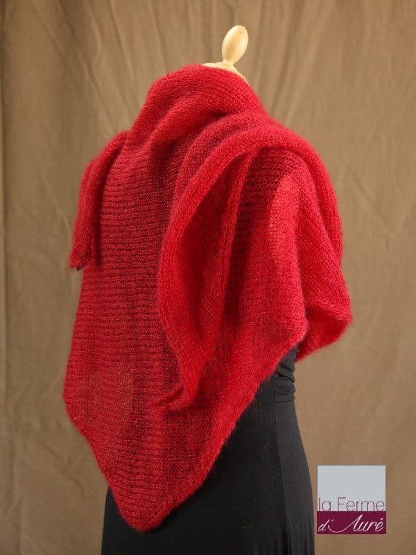 chale femme laine mohair & soie rouge par la Ferme d'Auré - Chale en laine mohair