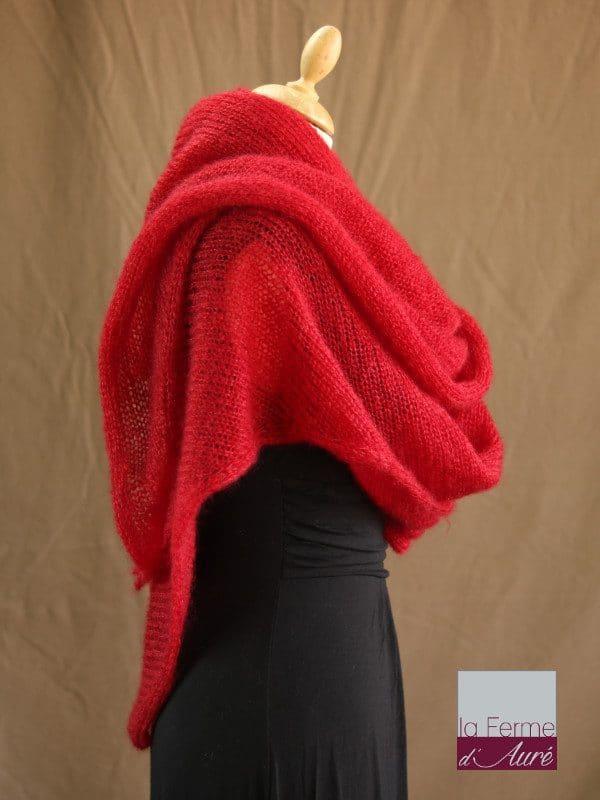 chale femme laine mohair & soie rouge par la Ferme d'Auré - Chale tricot en laine mohair