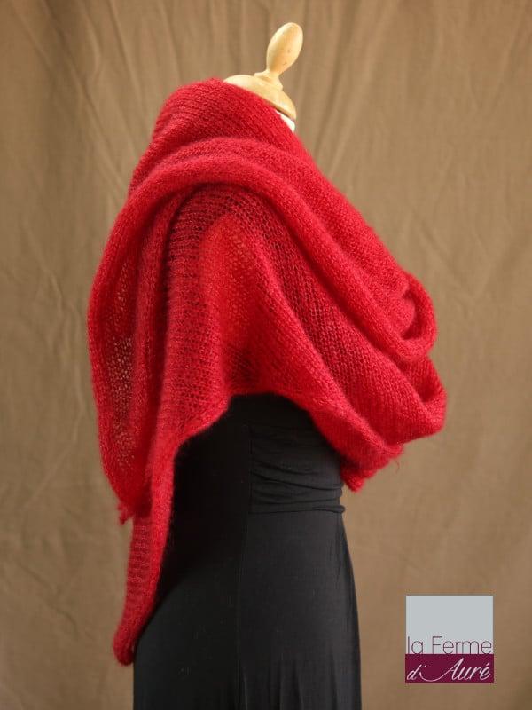 chale mohair & soie rouge par la Ferme d'Auré - Chale tricot en laine mohair