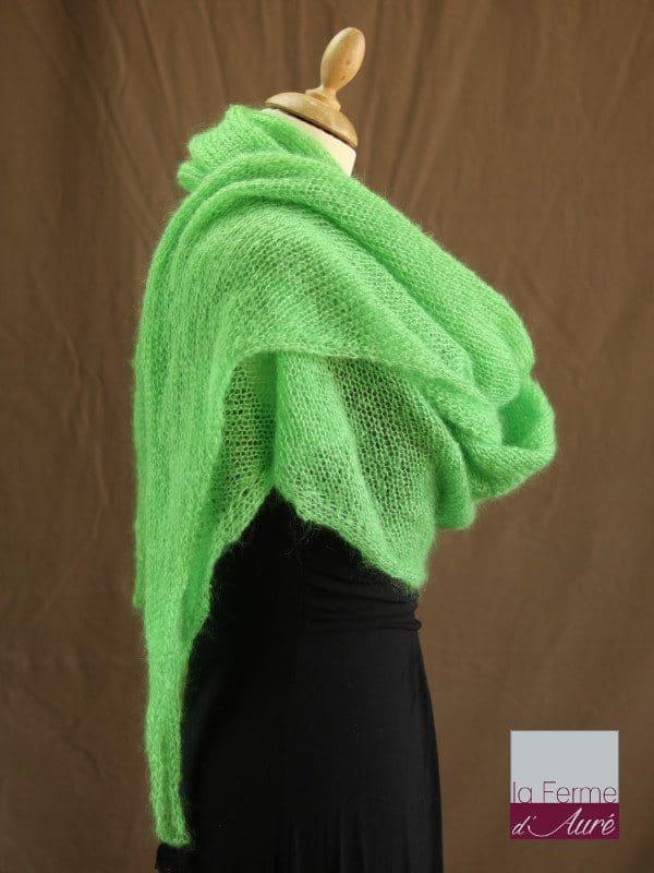 chale mohair & soie vert pomme par la Ferme d'Auré - Chale tricot en laine mohair