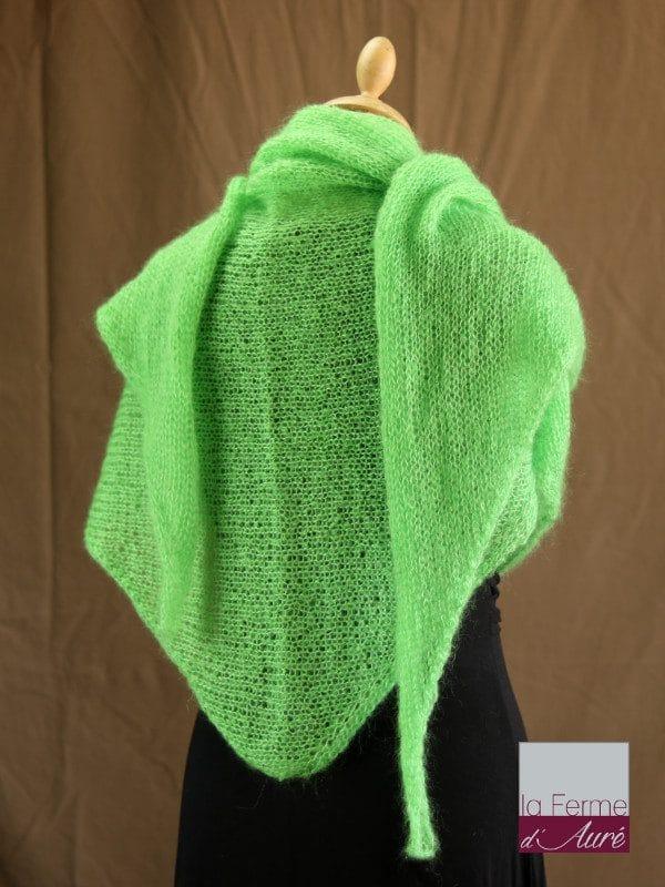chale femme laine mohair & soie vert pomme par la Ferme d'Auré - Chale tricot en laine mohair