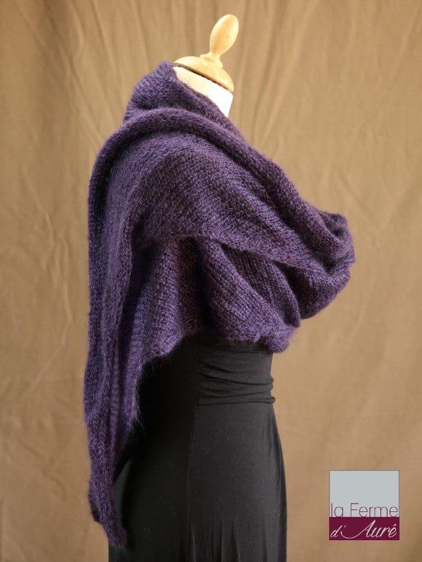 chale mohair & soie violet par la Ferme d'Auré - Chale tricot en laine mohair