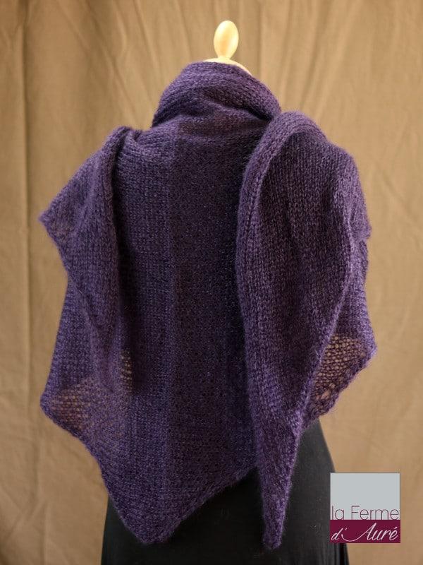 chale femme laine mohair & soie violet par la Ferme d'Auré - Chale tricot en laine mohair