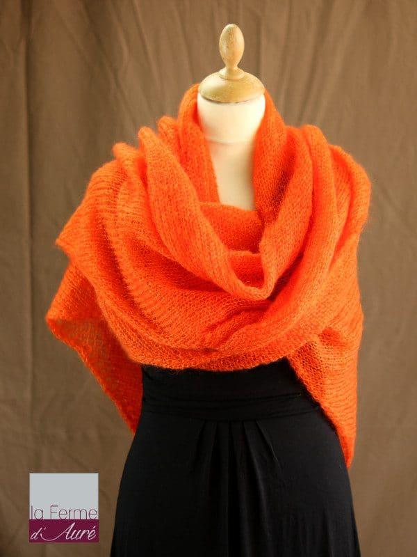 chale femme laine mohair orange par la Ferme d'Auré - Chale en laine mohair