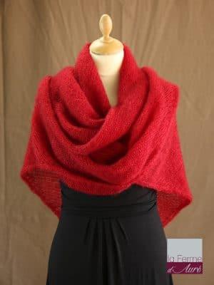 chale femme laine mohair rouge par la Ferme d'Auré - Chale en laine mohair