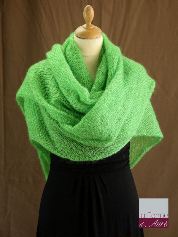 chale femme laine mohair vert pomme par la Ferme d'Auré - Chale en laine mohair