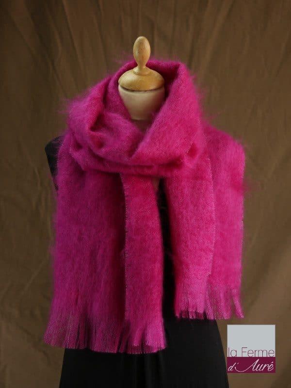 Grande écharpe laine mohair rose thyrien - Mohair Ferme d'Auré
