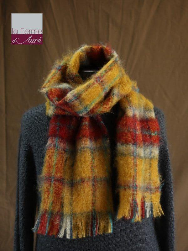 Grande écharpe laine mohair pour homme coloris à carreaux - Mohair Ferme d'Auré