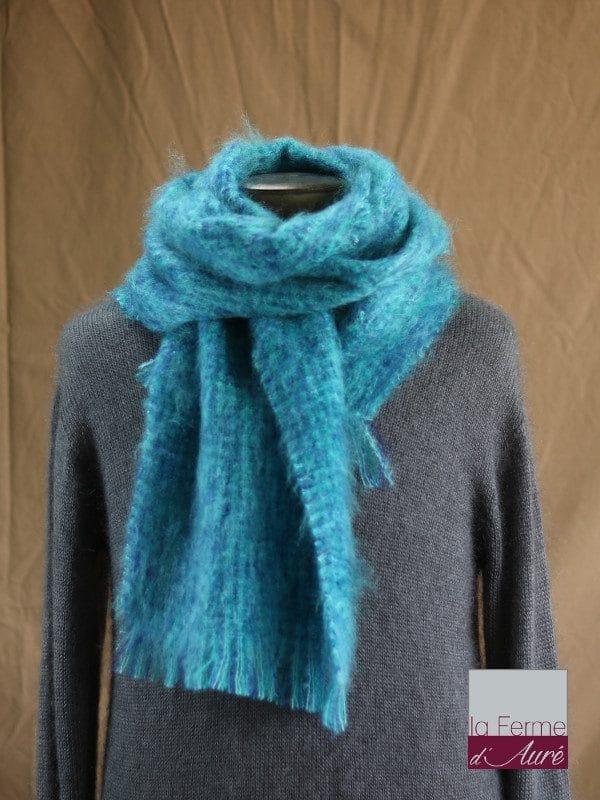 c99d6a26cafa Grande écharpe laine mohair pour homme coloris chiné bleu vert - Mohair  Ferme d Auré