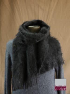 Grande écharpe laine mohair pour homme coloris noir - Mohair Ferme d'Auré