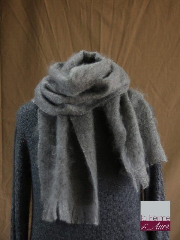 Grande écharpe laine mohair pour homme coloris gris orage - Mohair Ferme d'Auré