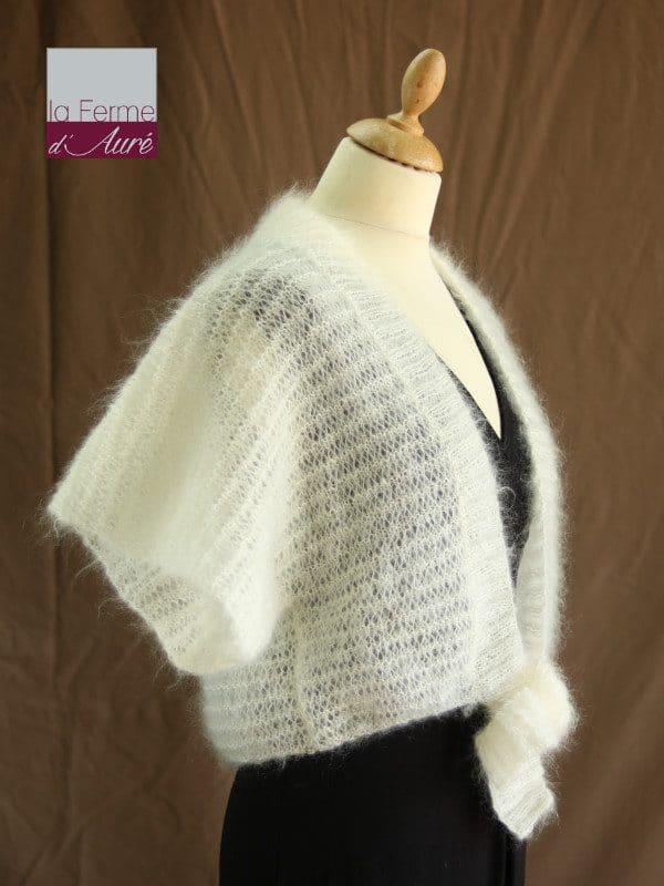 Boléro femme mariage en laine mohair et soie écru par la Ferme d'Auré