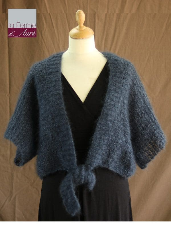 Boléro Femme Mariage en laine mohair et soie gris ardoise - Mohair Ferme d'Auré
