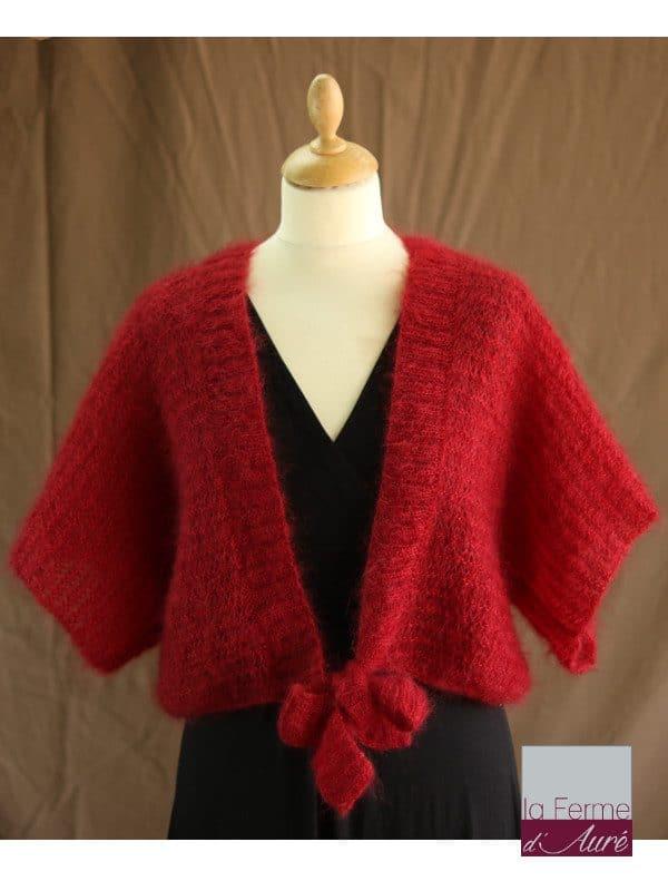Boléro Femme Mariage en laine mohair et soie rouge - Mohair Ferme d'Auré
