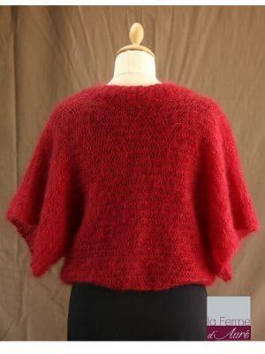 Boléro Femme Mariage en laine mohair et soie rouge vue de dos - Mohair Ferme d'Auré