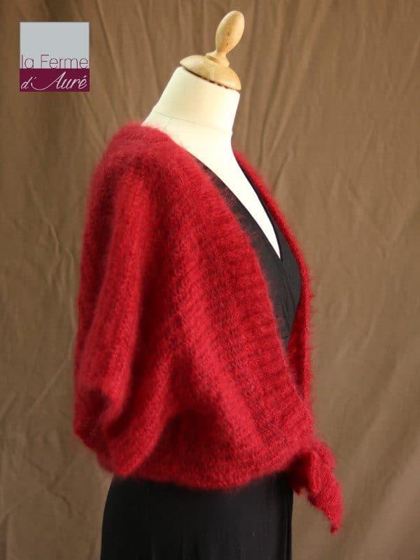 Boléro Femme Mariage en laine mohair et soie rouge vue de profil - Mohair Ferme d'Auré