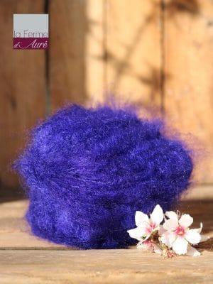 Pelote de laine pur mohair bleu encre - Mohair de la Ferme d'Auré