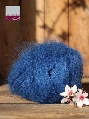 Pelote de laine pur mohair bleu hollandais - Mohair de la Ferme d'Auré