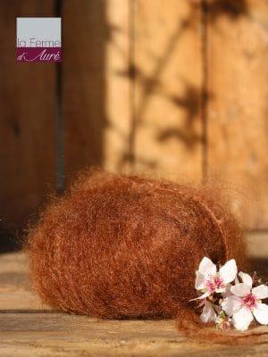 Pelote de laine pur mohair cannelle - Mohair de la Ferme d'Auré