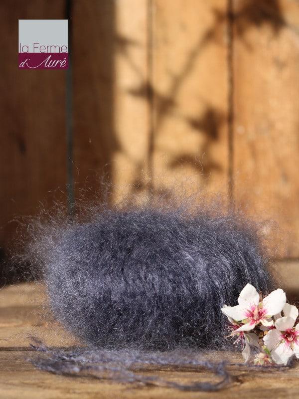 Pelote de laine pur mohair gris ardoise - Mohair de la Ferme d'Auré