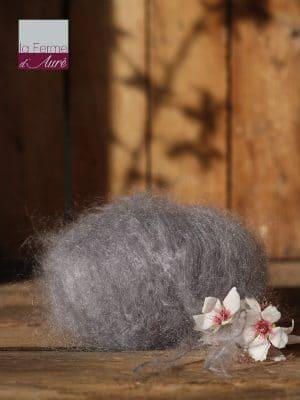 Pelote de laine pur mohair gris hibou - La Ferme d'Auré
