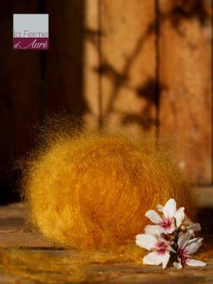 Pelote de laine pur mohair jaune moutarde - Mohair de la Ferme d'Auré