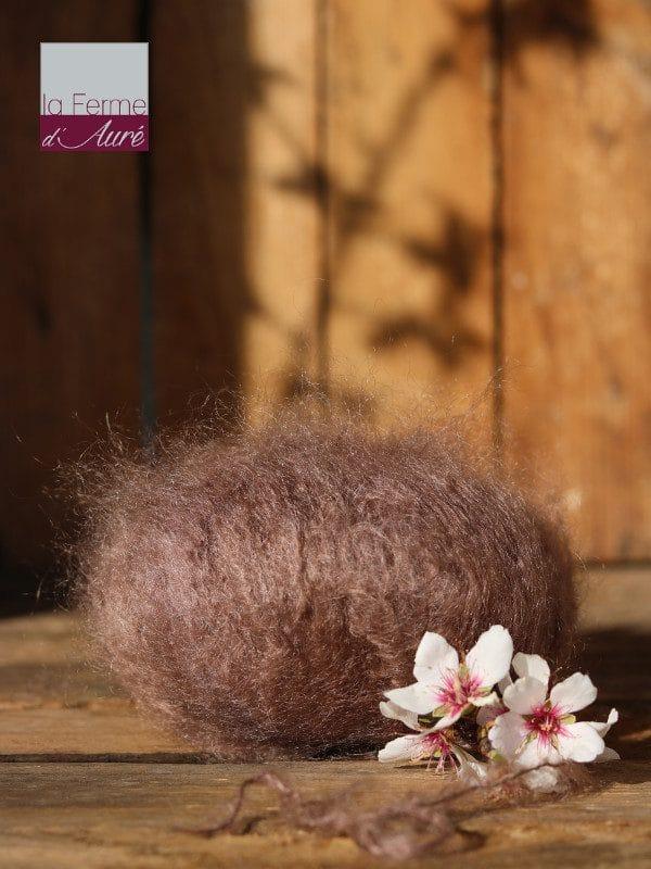 Pelote de laine pur mohair marron bison - Mohair de la Ferme d'Auré
