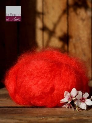 Pelote de laine pur mohair orange coquelicot - Mohair de la Ferme d'Auré