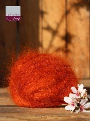 Pelote de laine pur mohair orange cuivré - Mohair de la Ferme d'Auré