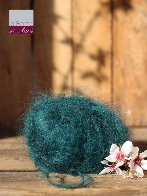 Pelote de laine pur mohair paon - Mohair de la Ferme d'Auré