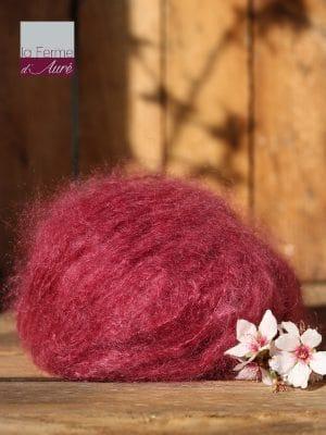Pelote de laine pur mohair rose griotte - Mohair de la Ferme d'Auré