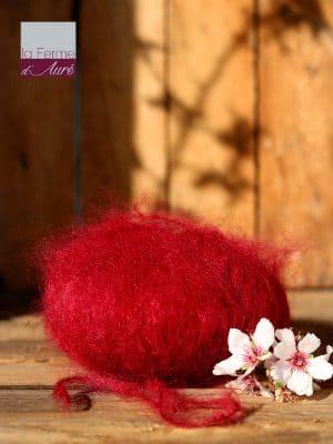 Pelote de laine pur mohair rouge grenade - Mohair de la Ferme d'Auré