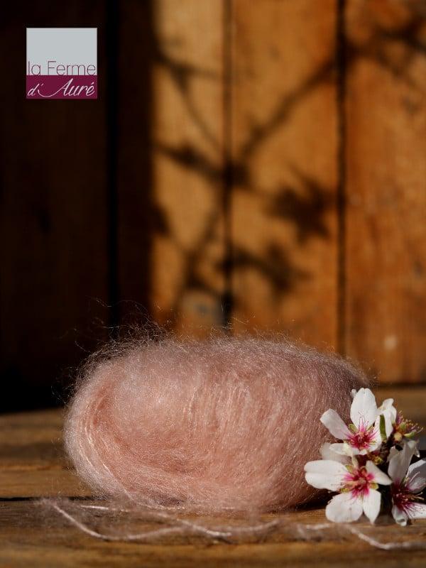 Pelote de laine mohair et soie beige rosé - Mohair de la Ferme d'Auré