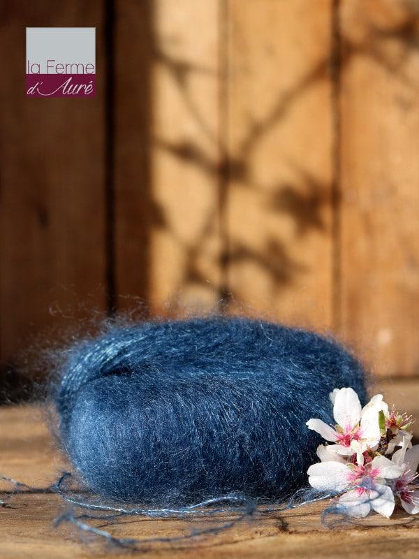 Pelote de laine mohair et soie bleu hollandais - Mohair de la Ferme d'Auré