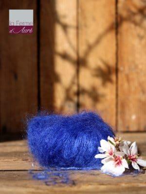 Pelote de laine mohair et soie bleu outremer - Mohair de la Ferme d'Auré